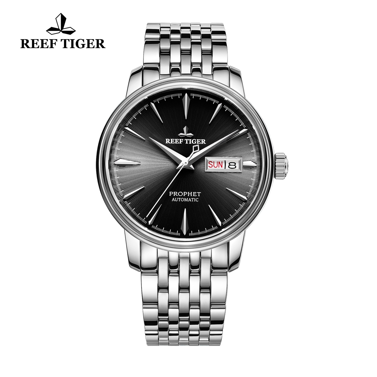 Reef Tiger Prophet Men's Fashion Automatic Business Steel Black Dial Watch RGA8236-YBY