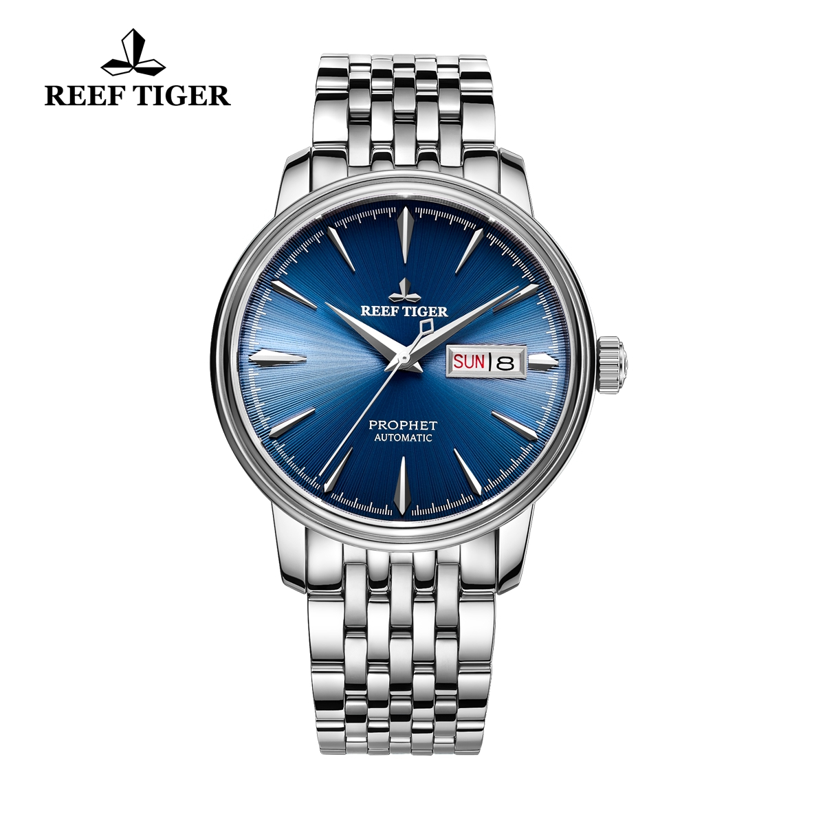 Reef Tiger Prophet Men's Fashion Automatic Business Steel Blue Dial Watch RGA8236-YLY