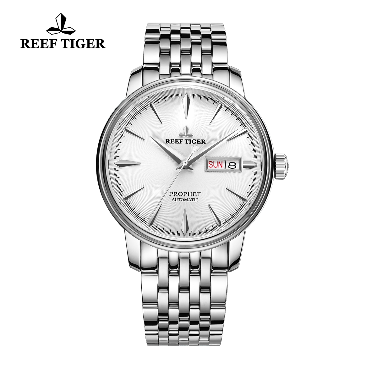 Reef Tiger Prophet Men's Fashion Automatic Business Steel White Dial Watch RGA8236-YWY