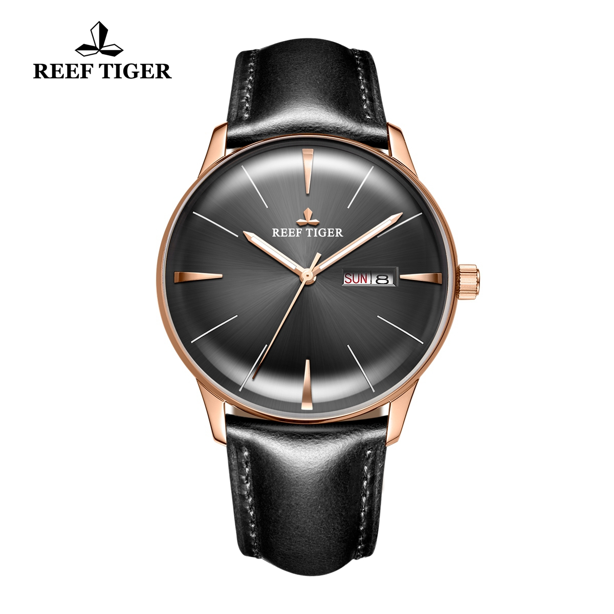 Reef Tiger Classic Heritor Rose Gold Automatic Watch Black Dial Leather Strap For Men Watches RGA8238-PBBH