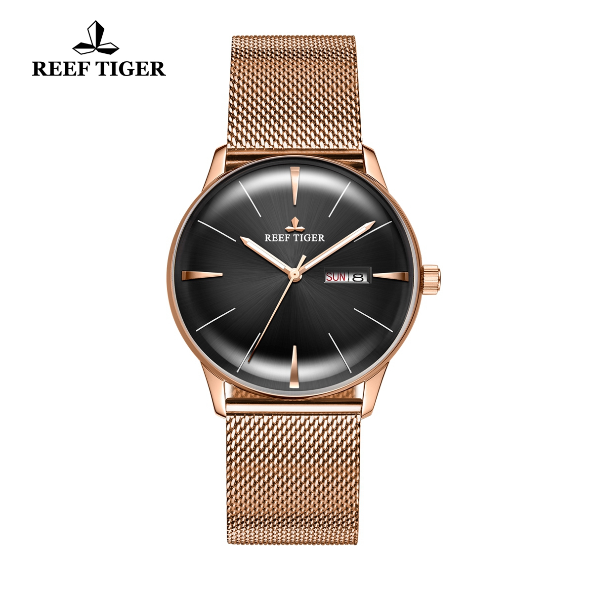 Reef Tiger Classic Heritor Automatic Watch Black Dial Rose Gold For Men Watches RGA8238-PBP