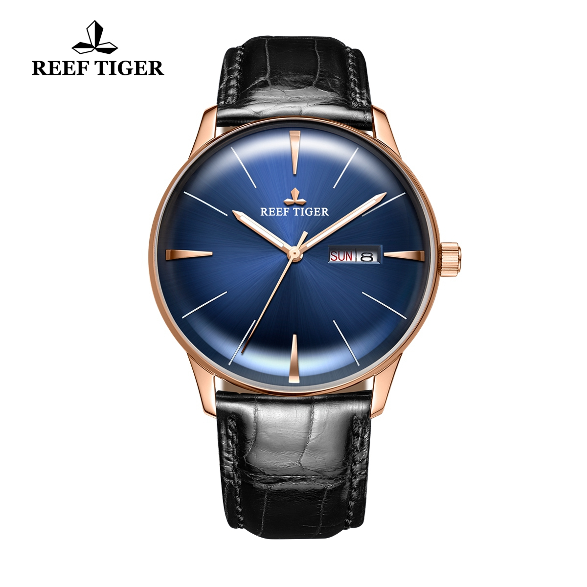 Reef Tiger Classic Heritor Luxury Men's Watch Blue Dial Leather Strap Automatic Watches RGA8238-PLB