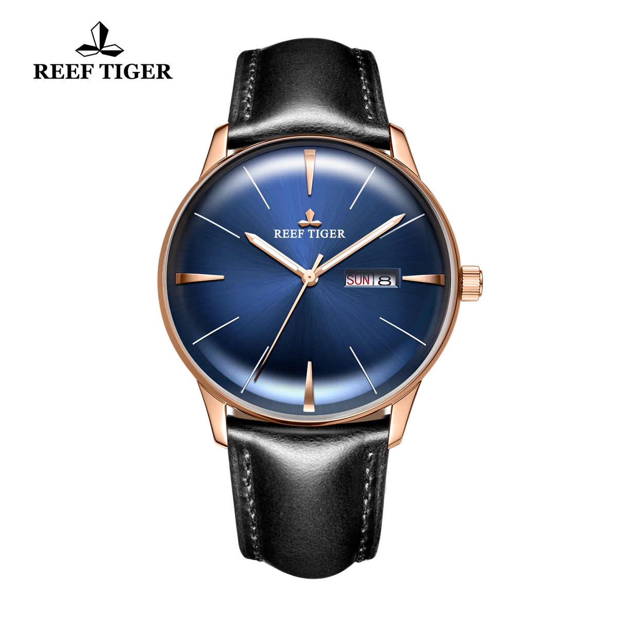 Reef Tiger Classic Heritor Men's Luxury Watch Blue Dial Leather Strap Automatic Watches RGA8238-PLBH
