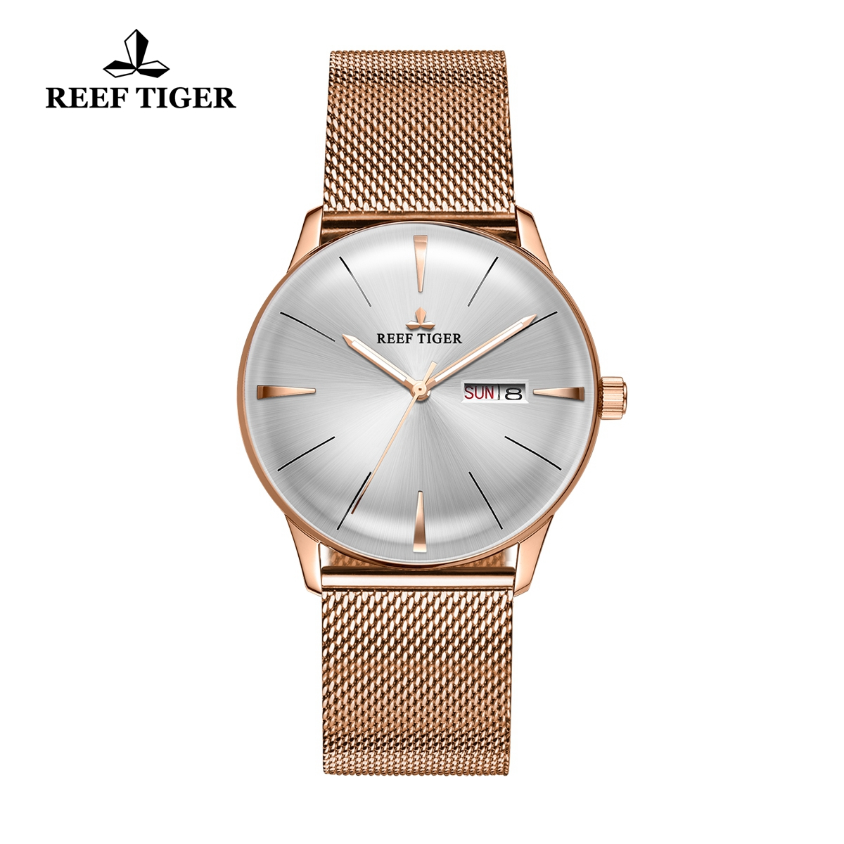 Reef Tiger Classic Heritor Mens Rose Gold Automatic Watch White Dial Watches RGA8238-PWP