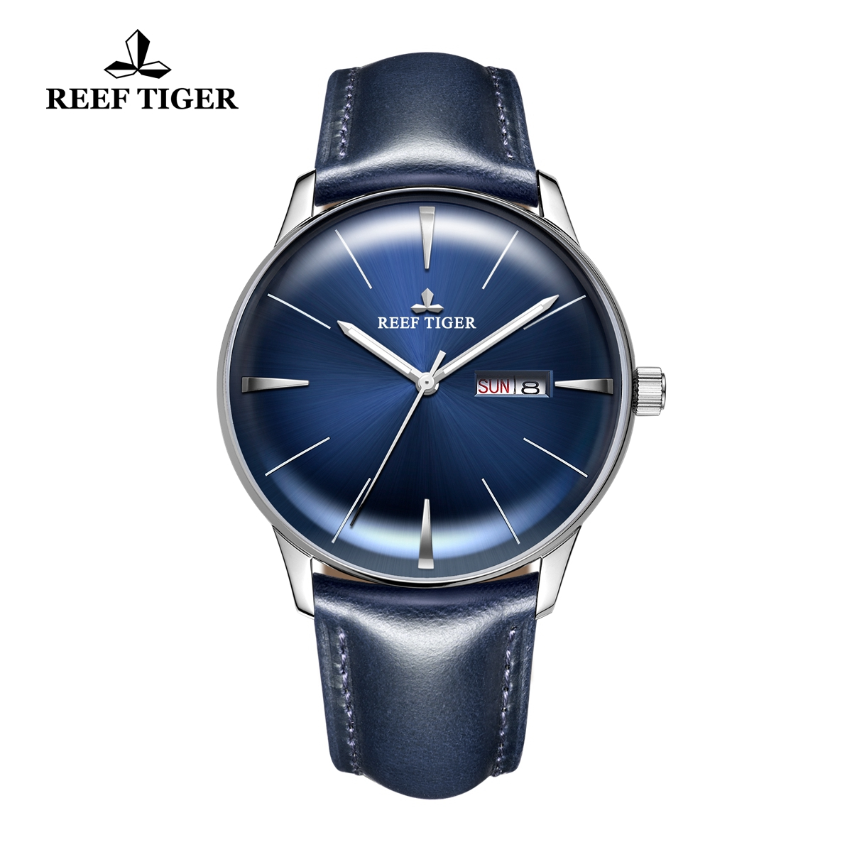 Reef Tiger Classic Heritor Automatic Watch Men's Blue Dial Leather Strap For Men Watches RGA8238-YLLH