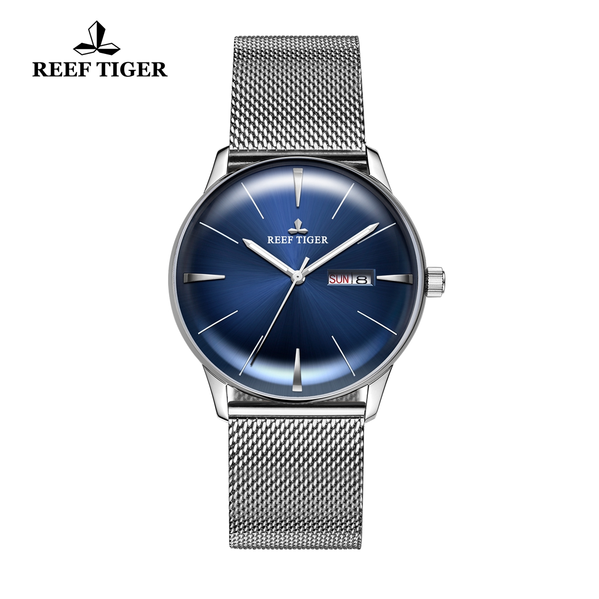 Reef Tiger Classic Heritor Fashion Automatic Watch Blue Dial Steel Watches For Men RGA8238-YLY