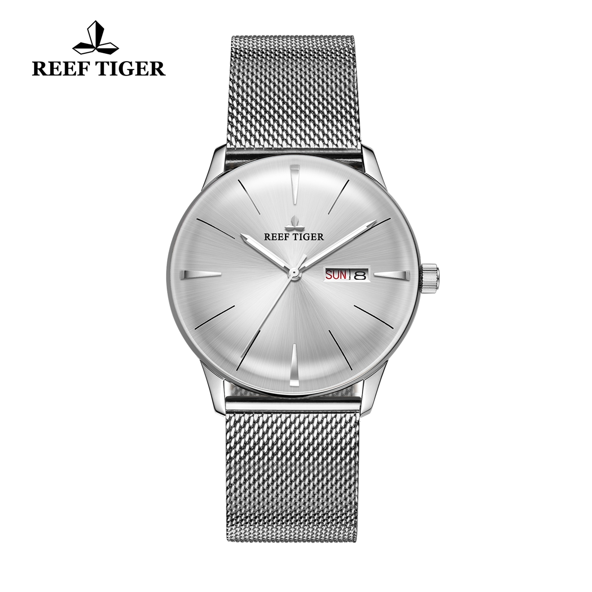Reef Tiger Classic Heritor Fashion Mens Automatic Watch White Dial Steel Watches RGA8238-YWY
