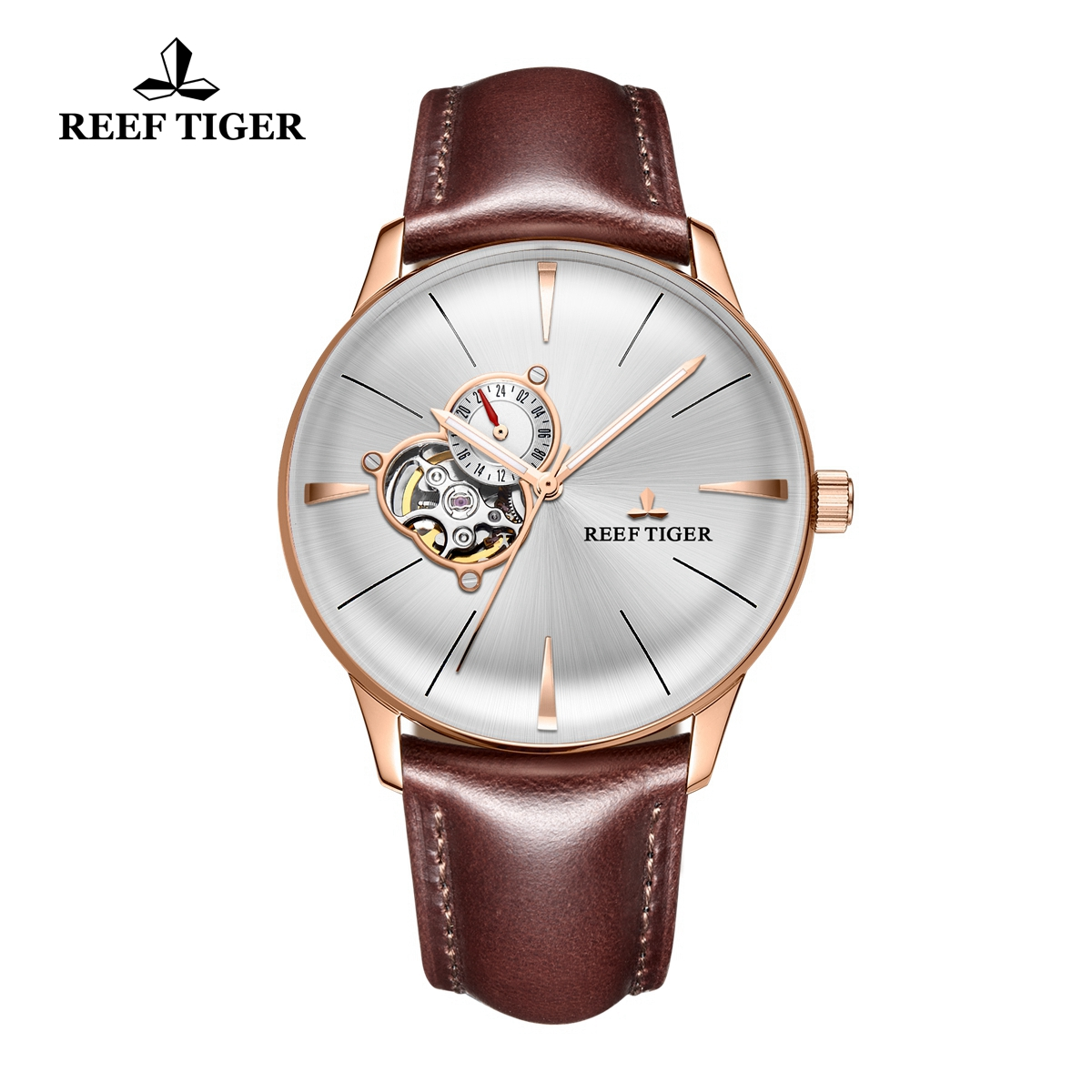 Reef Tiger Classic Glory Rose Gold White Dial Men's Automatic Watch Leather Strap RGA8239-PWBH