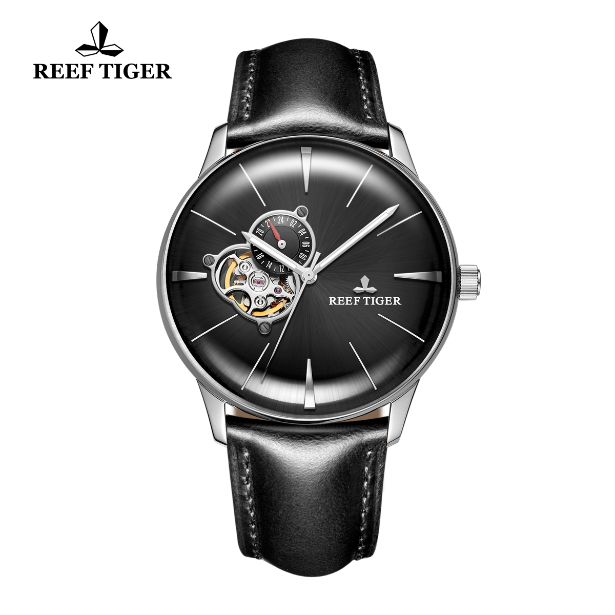 Reef Tiger Classic Glory Men's Automatic Watch Leather Strap Black Dial Watch RGA8239-YBBH