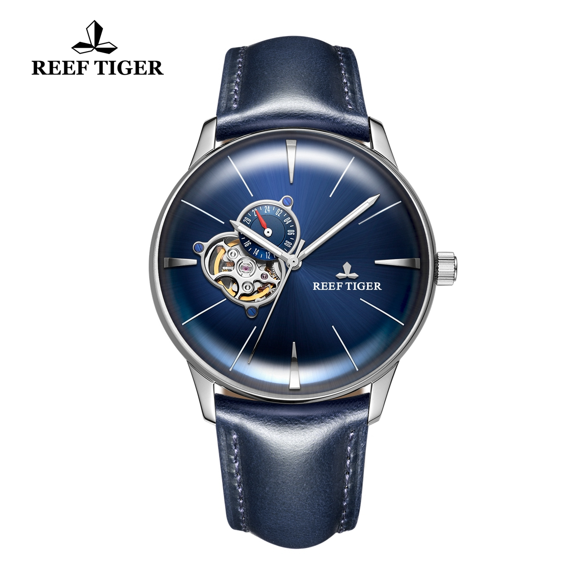 Reef Tiger Classic Glory Men's Automatic Watch Leather Strap Blue Dial Watch RGA8239-YLLH