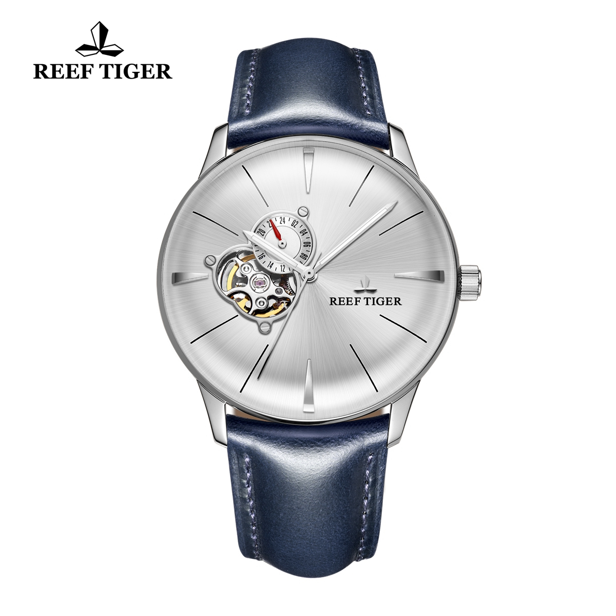 Reef Tiger Classic Glory Fashion Automatic Watch Leather Strap White Dial For Men Watch RGA8239-YWBH