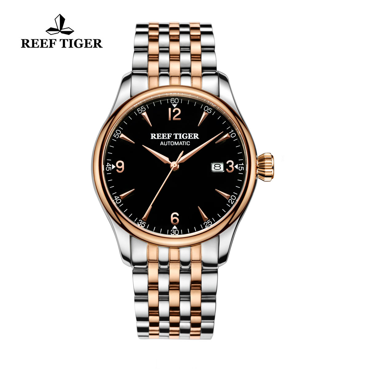 Reef Tiger Heritage Dress Automatic Watch Black Dial Two Tone Case RGA823G-PBT
