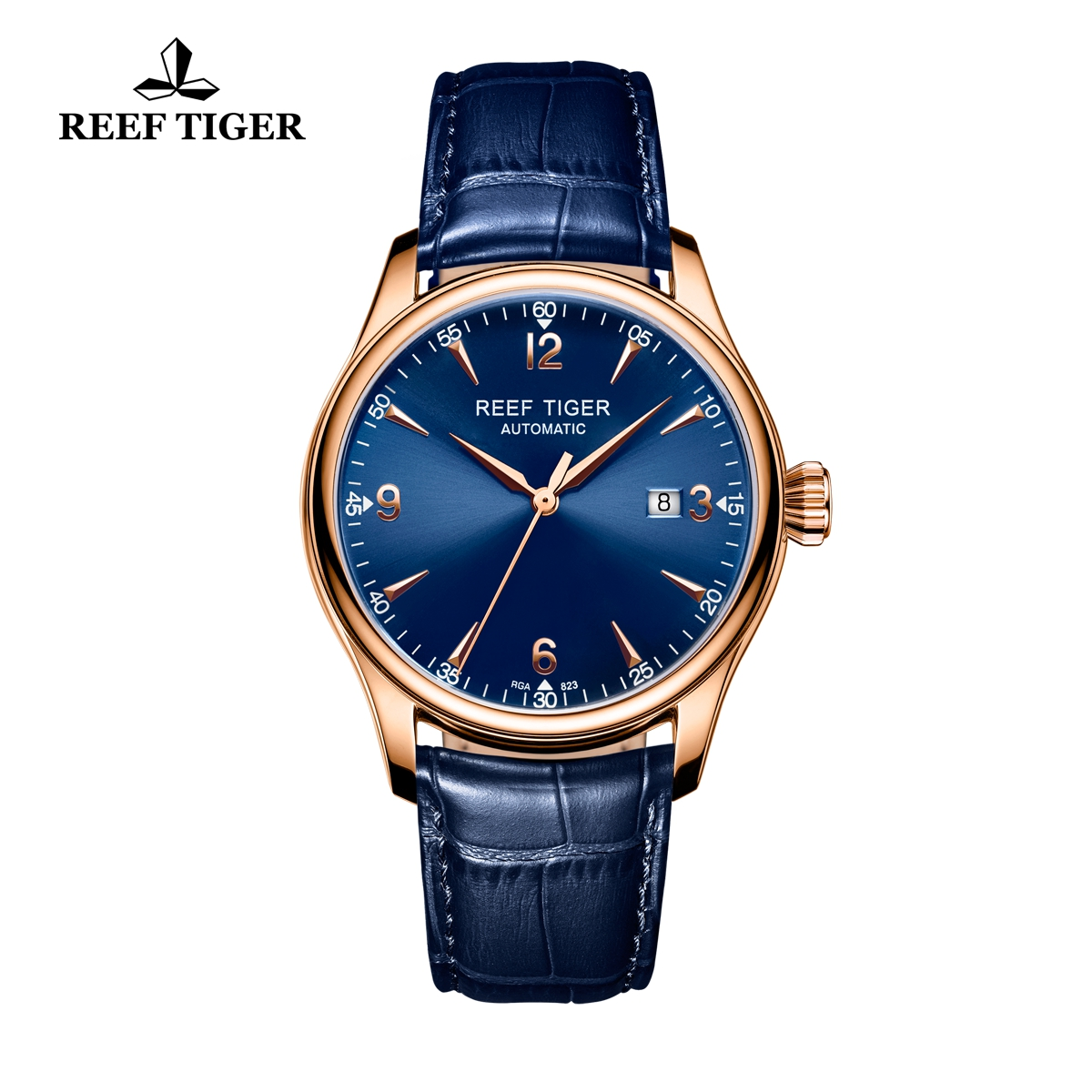 Reef Tiger Heritage Dress Automatic Watch Blue Dial Calfskin Leather Strap RGA823G-PLL