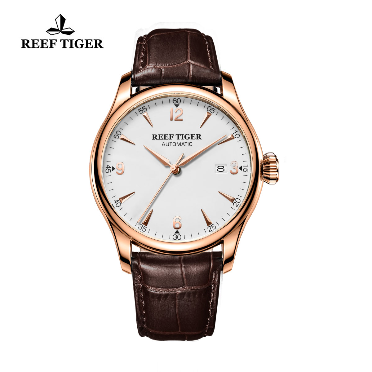 Reef Tiger Heritage Dress Automatic Watch White Dial Calfskin Leather Strap RGA823G-PWB