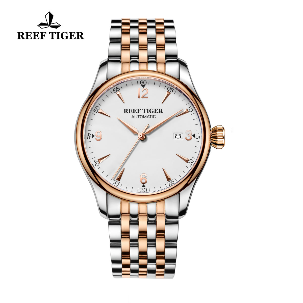 Reef Tiger Dress Automatic Watch White Dial Two Tone Case RGA823G-PWT