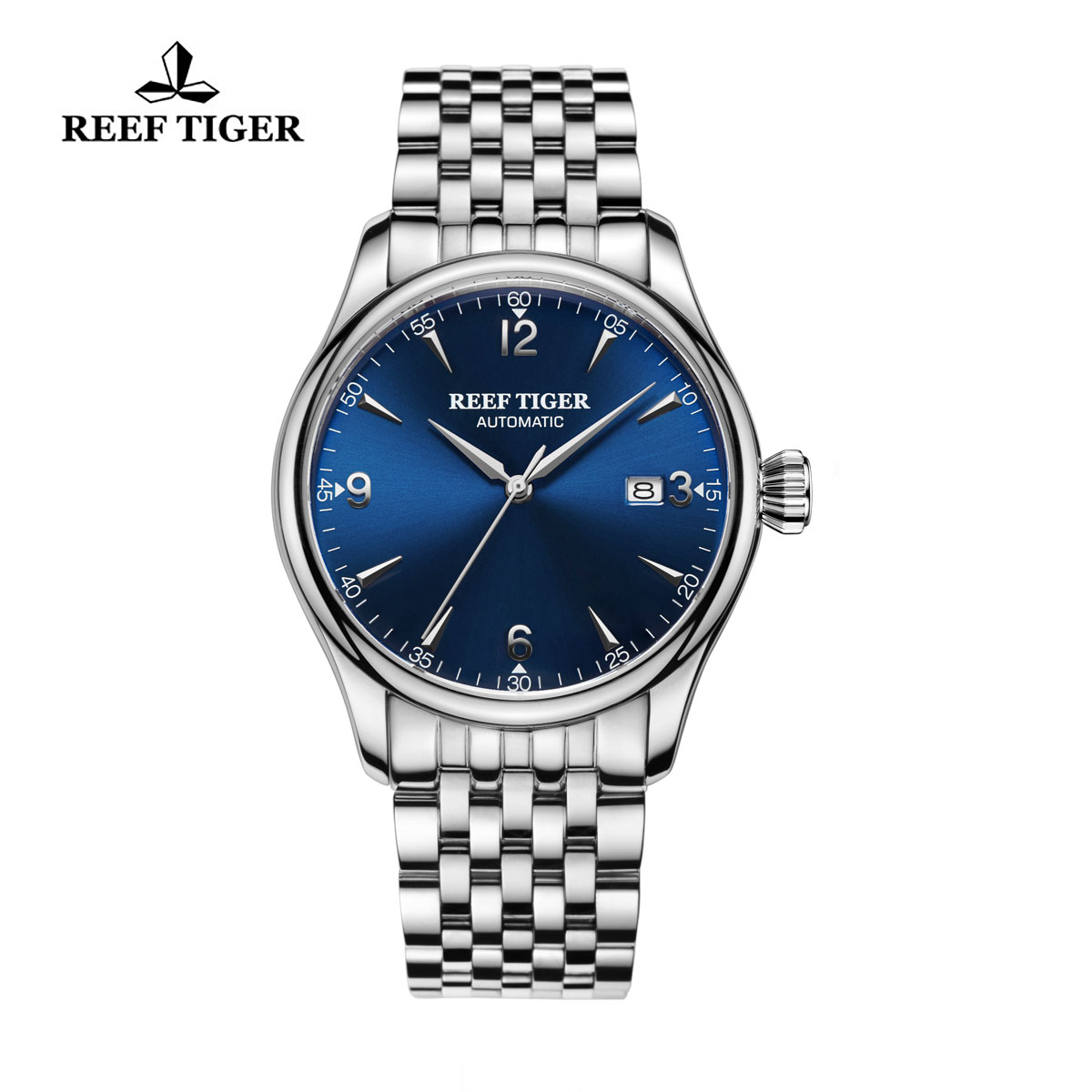 Reef Tiger Heritage Dress Automatic Watch Blue Dial Stainless Steel Case RGA823G-YLY
