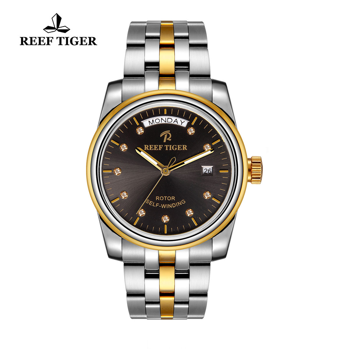 Reef Tiger Dress Watch with Day-Date Champagne Dial RGA829-TBT