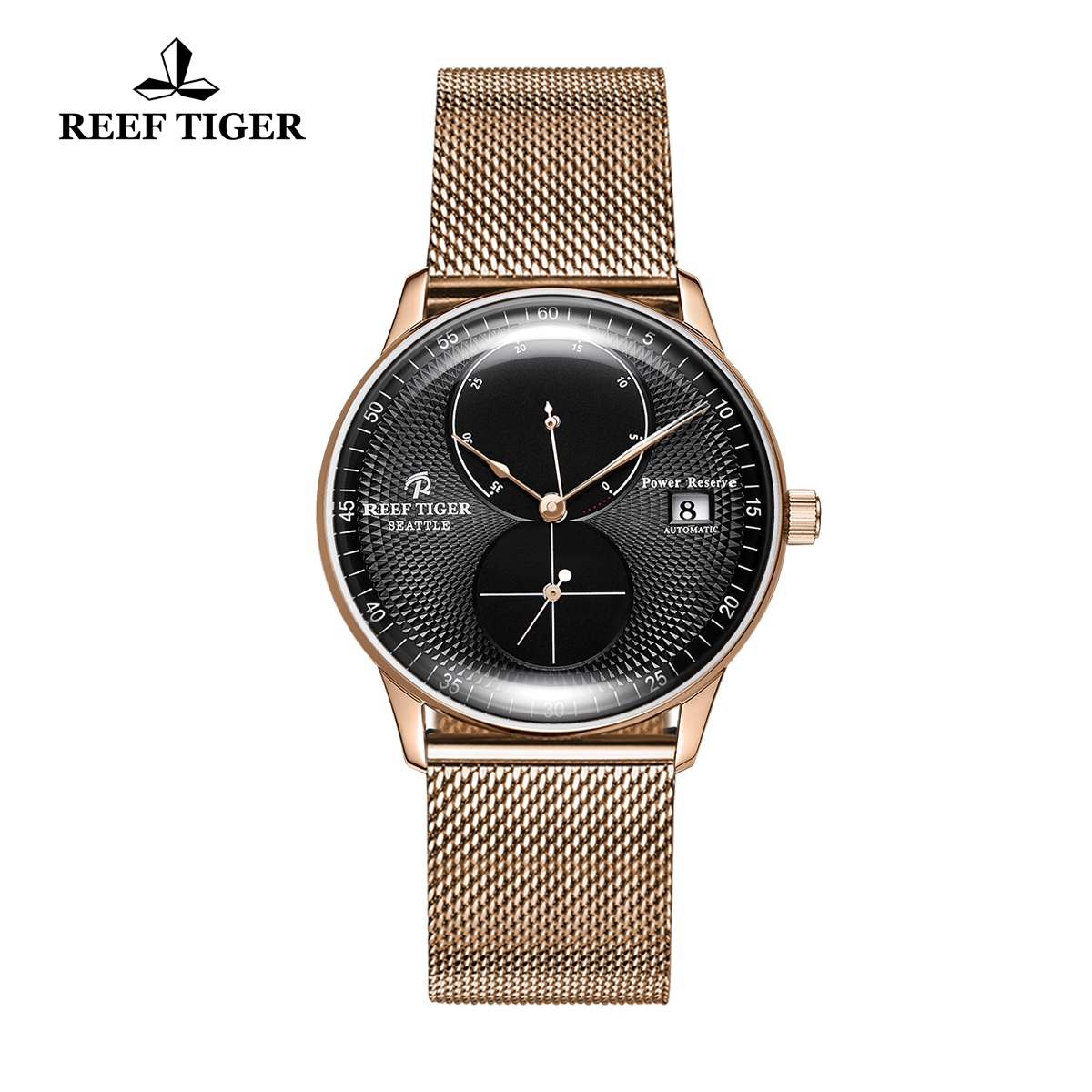 Reef Tiger Seattle Navy Fashion Rose Gold Black Dial Rose Gold Bracelet Automatic Watch RGA82B0-PBP