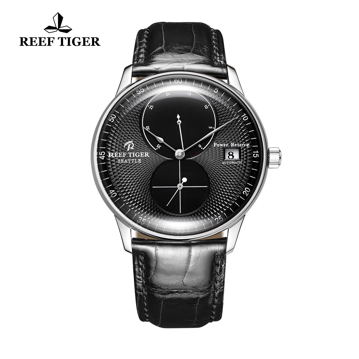 Reef Tiger Seattle Navy Fashion Steel Leather Strap Black Dial Automatic Watch RGA82B0-YBB