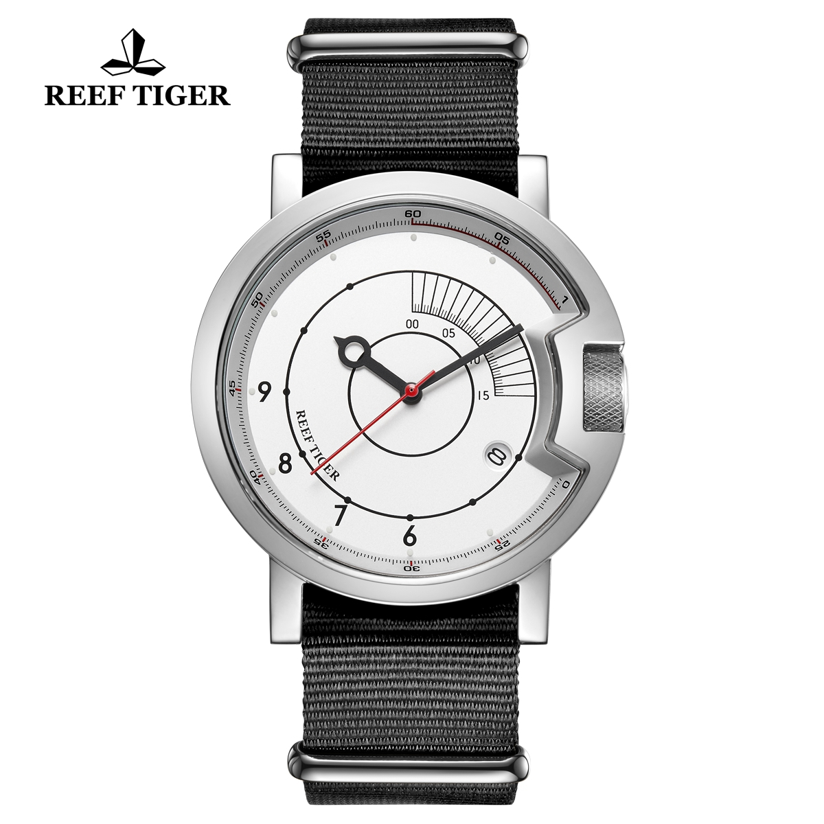 Reef Tiger 1980S Limited Edition Mens Steel White Dial Nylon Strap Automatic Watch RGA9035-YWB