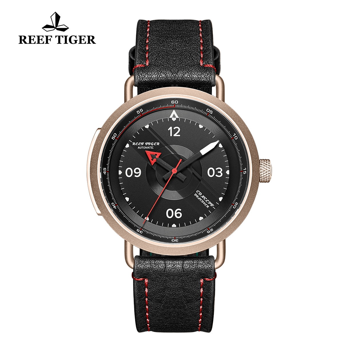 Reef Tiger Limited Edition Discover Mens Rose Gold Black Dial Leather Strap Red Pointer Automatic Watch RGA9055-PBR