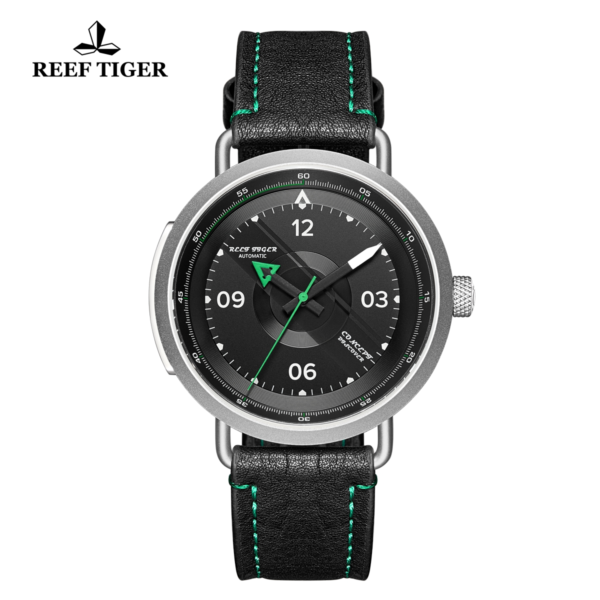 Reef Tiger Limited Edition Discover Mens Steel Black Dial Leather Strap Green Pointer Automatic Watch RGA9055-YBG
