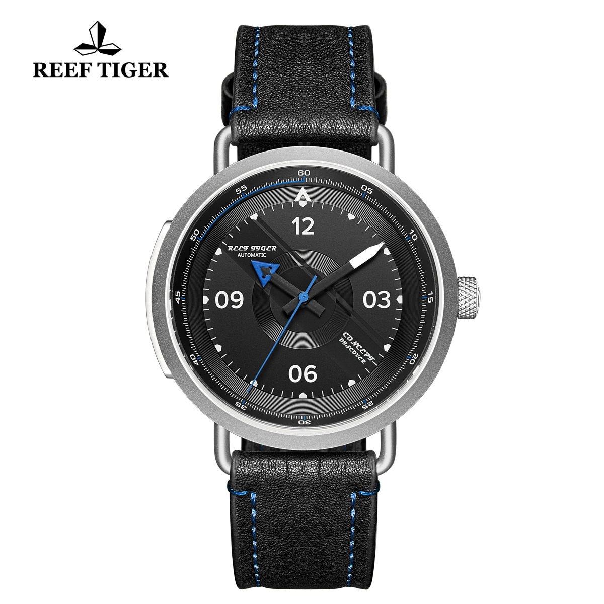 Reef Tiger Limited Edition Discover Mens Steel Black Dial Leather Strap Blue Pointer Automatic Watch RGA9055-YBR
