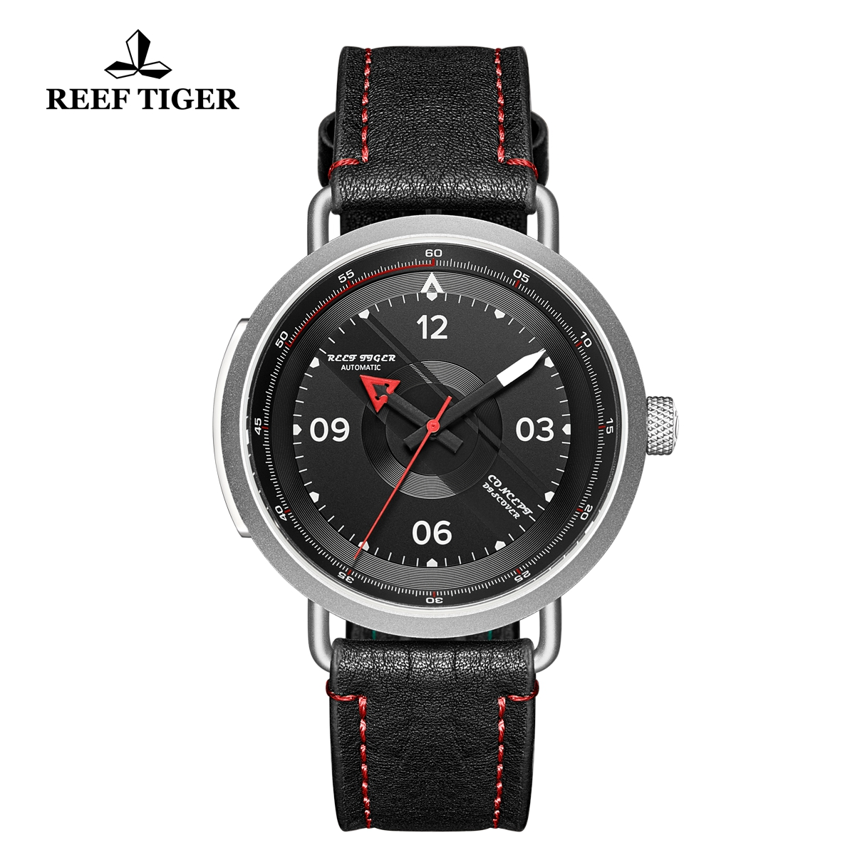 Reef Tiger Limited Edition Discover Mens Steel Black Dial Leather Strap Red Pointer Automatic Watch RGA9055-YBR