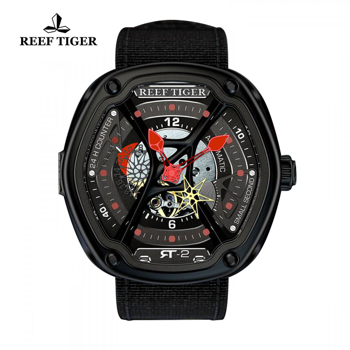 Reef Tiger Gaia's Light Sport Watches Automatic Watch PVD Case Skeleton Dial RGA90S7-BSB