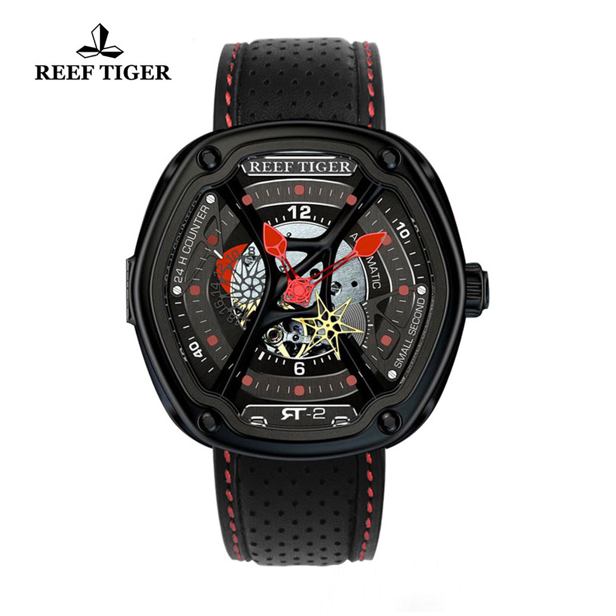 Reef Tiger Gaia's Light Sport Watches Automatic Watch PVD Case Leather Strap Watch RGA90S7-BSBL