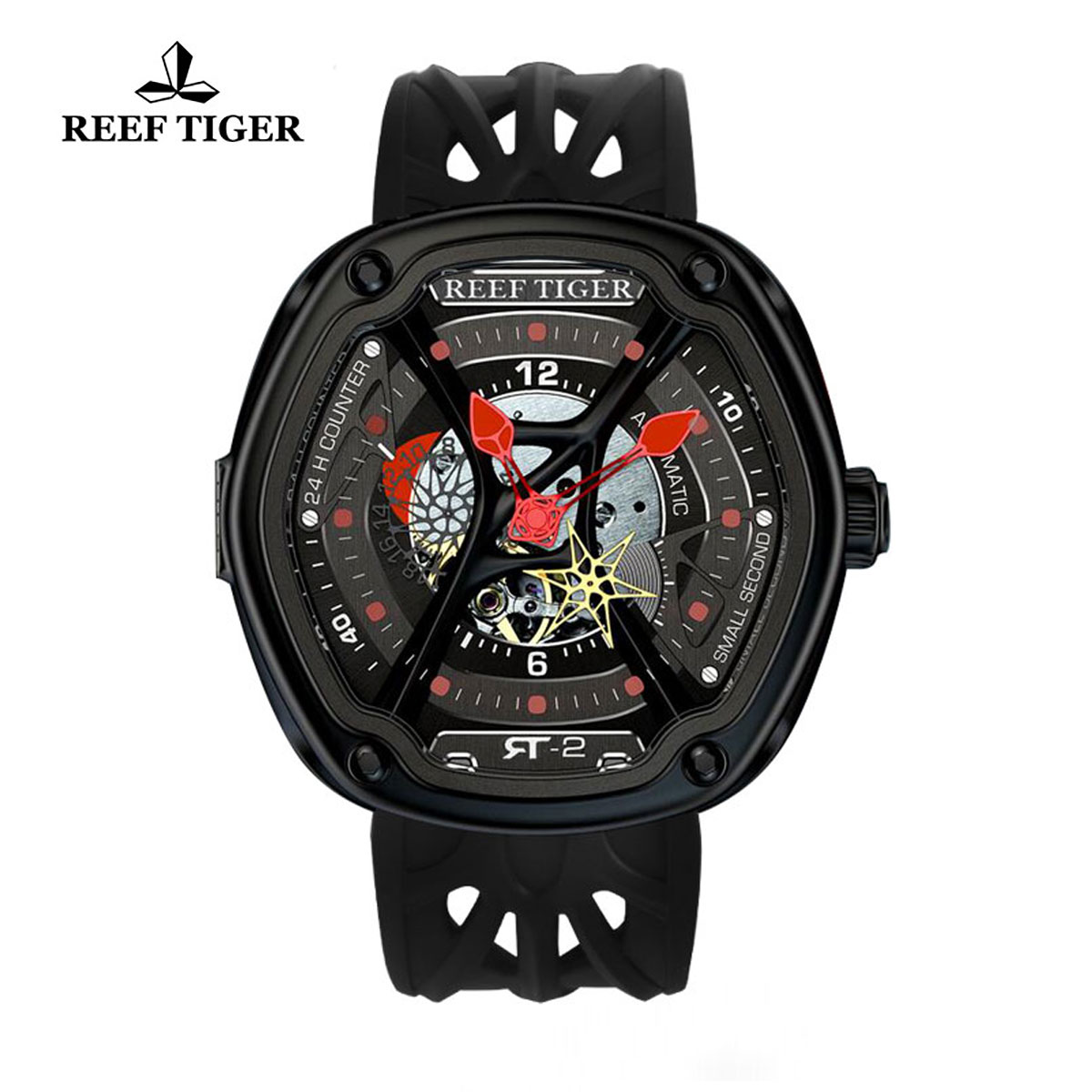 Reef Tiger Gaia's Light Sport Watches Automatic Watch PVD Case Rubber Strap Watch RGA90S7-BSBR