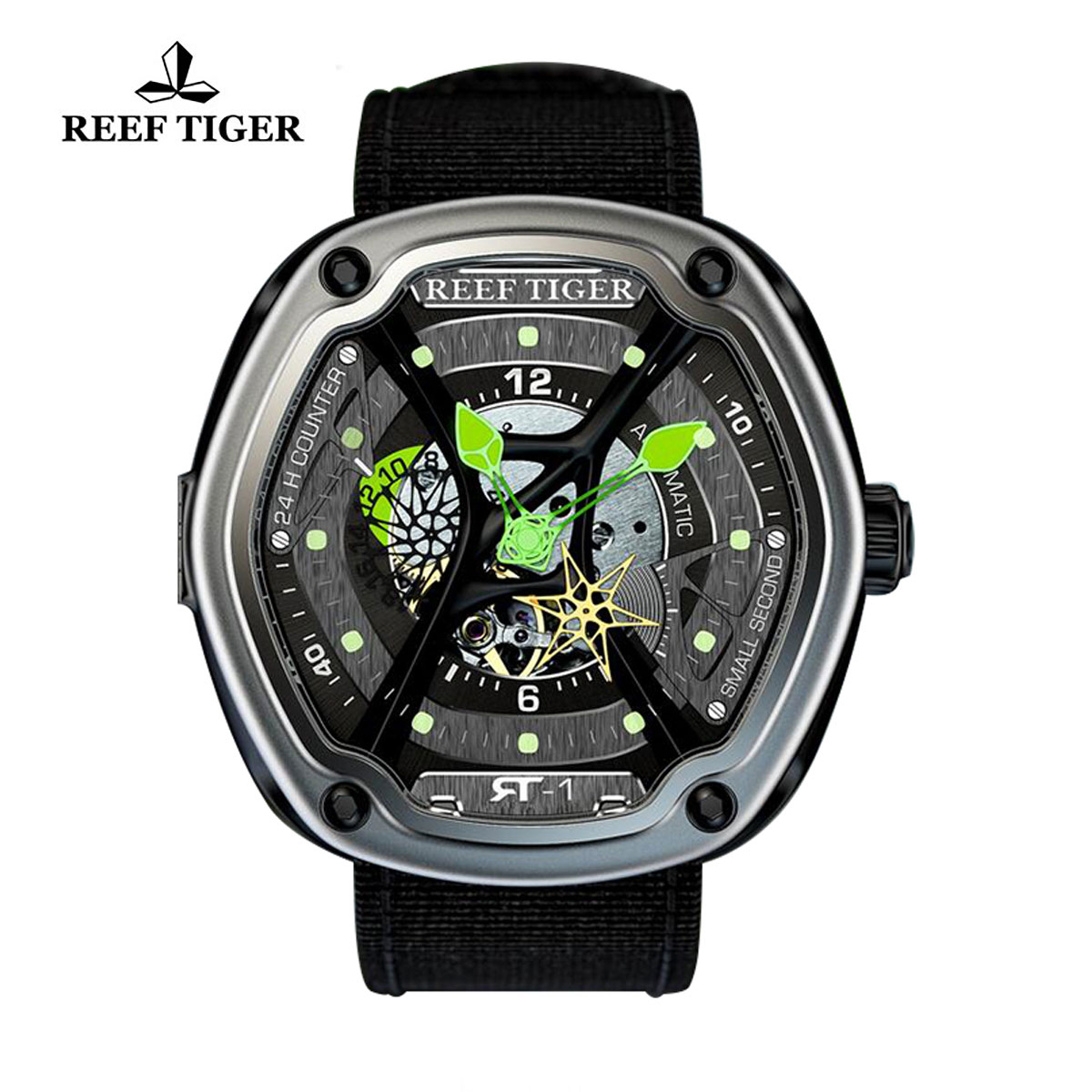 Reef Tiger Gaia's Light Sport Watches Automatic Watch Steel Case Skeleton Dial RGA90S7-TSB