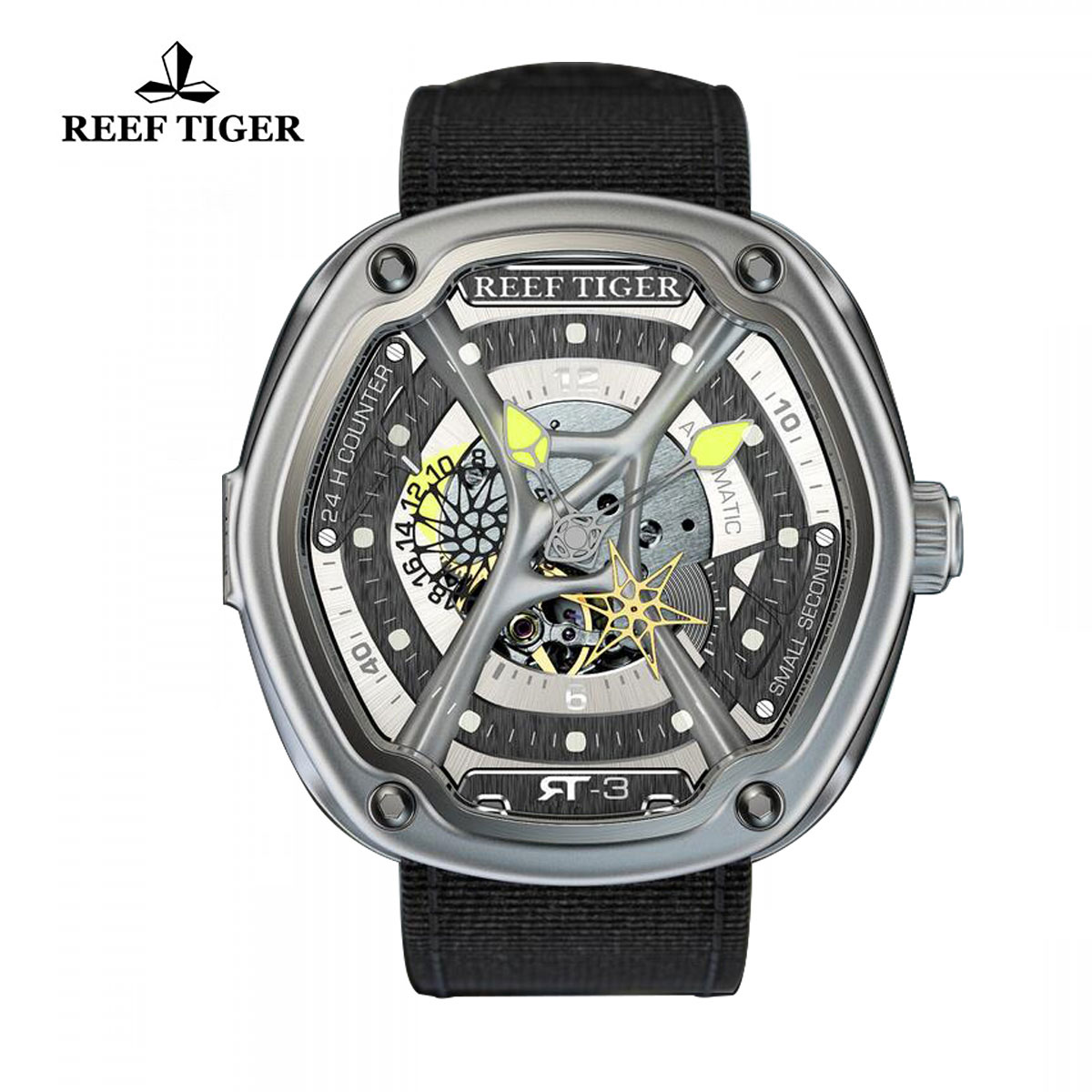 Reef Tiger Gaia's Light Sport Watches Automatic Watch Steel Case Skeleton Dial RGA90S7-YSB