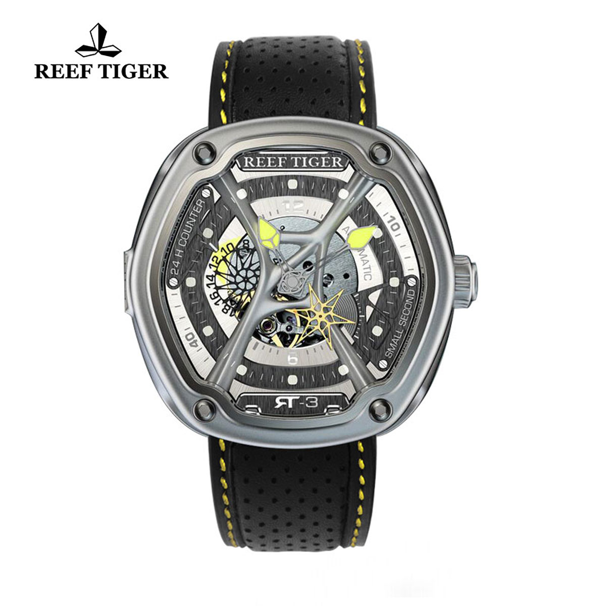 Reef Tiger Gaia's Light Sport Watches Automatic Watch Steel Case Leather Strap RGA90S7-YSBL