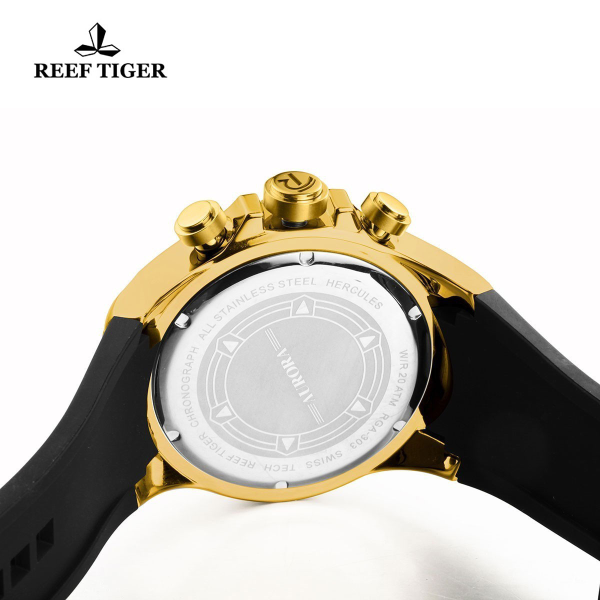 Reef Tiger Hercules Sport Watches Chronograph Yellow Gold Case Blue Dial Watch RGA303-YGL