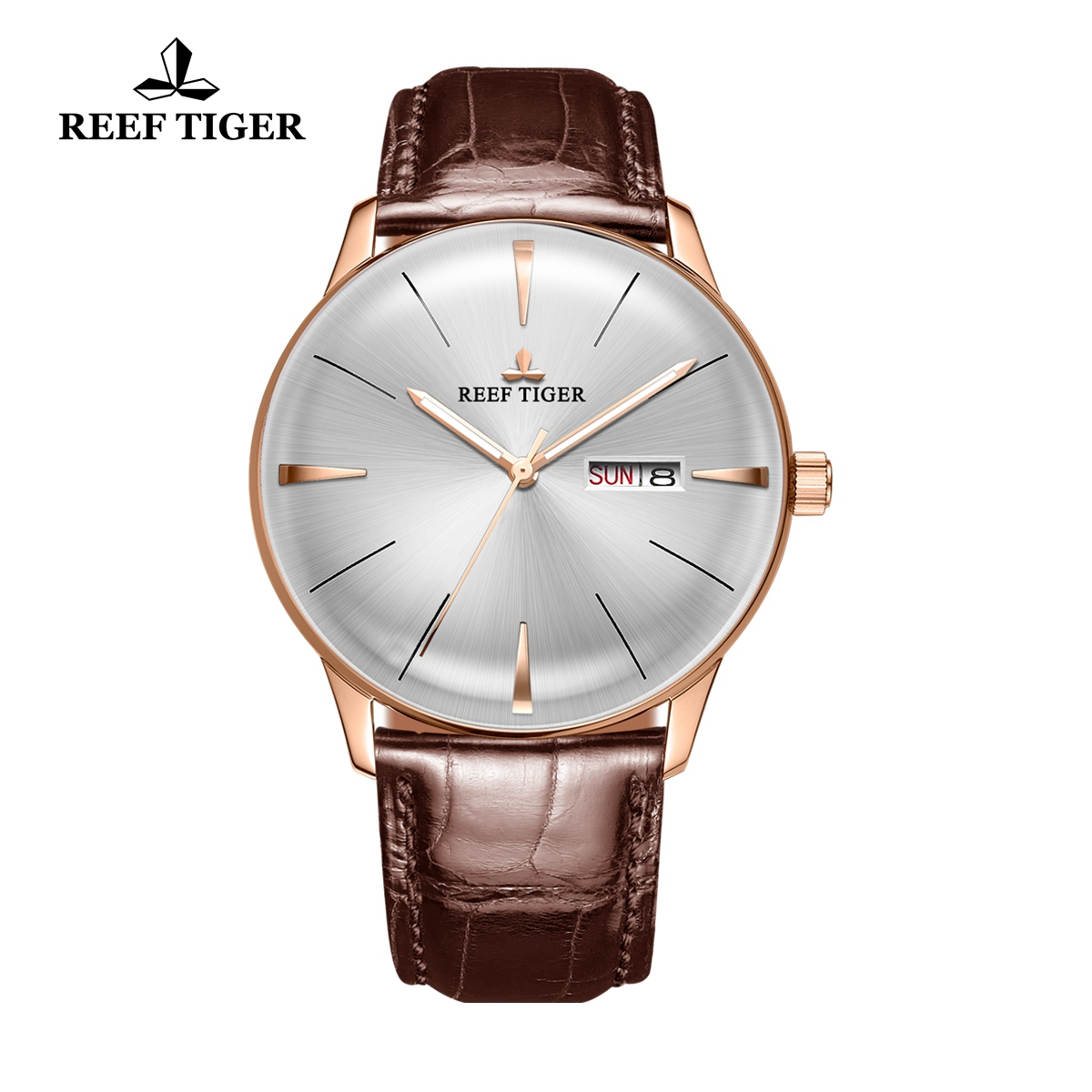 Reef Tiger Classic Heritor Men's Watch White Dial Leather Strap Automatic Watches RGA8238-PWB