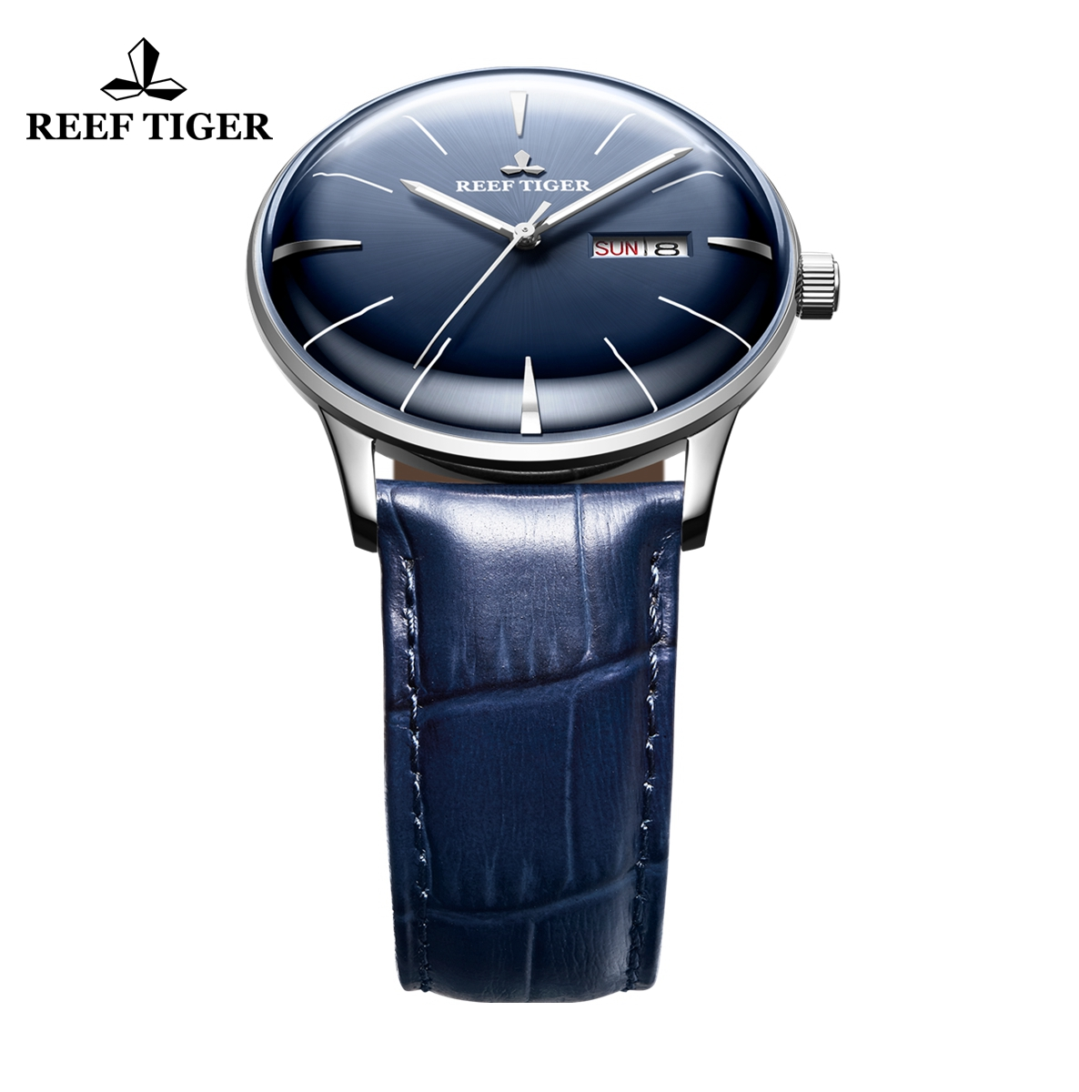Reef Tiger Classic Heritor Automatic Watch Blue Dial Leather Strap For Men Watches RGA8238-YLL