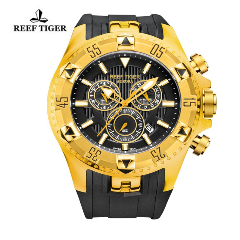 Reef Tiger Hercules Sport Watches Chronograph Yellow Gold Case Yellow Gold Bezel Black Dial Watch RGA303-YGB