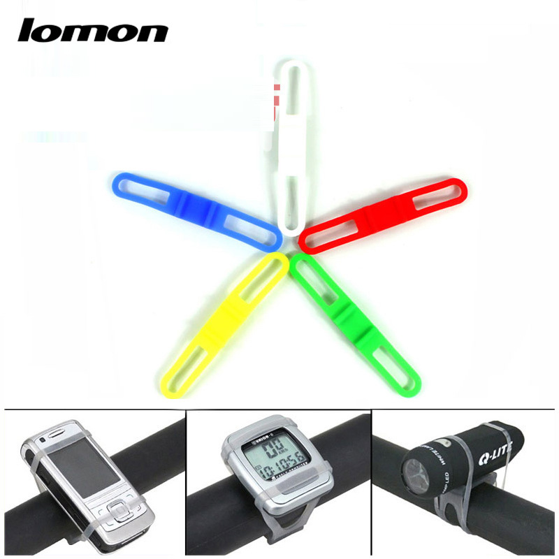 Lomon Mountain Bike MTB Bicycle Cycling Outdoor Silicone Strap Elastic LED Light Flashlight Mobile Support Holder P40