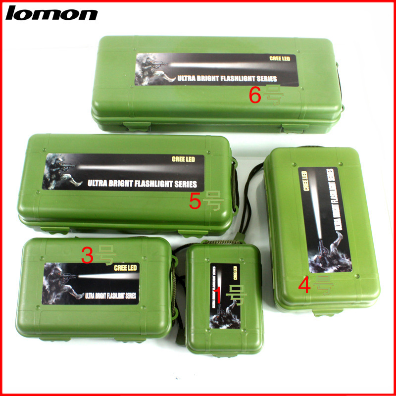 Lomon Flashlight Small Plastic Tool Boxes Home Storage Boxes in Black/Green P3