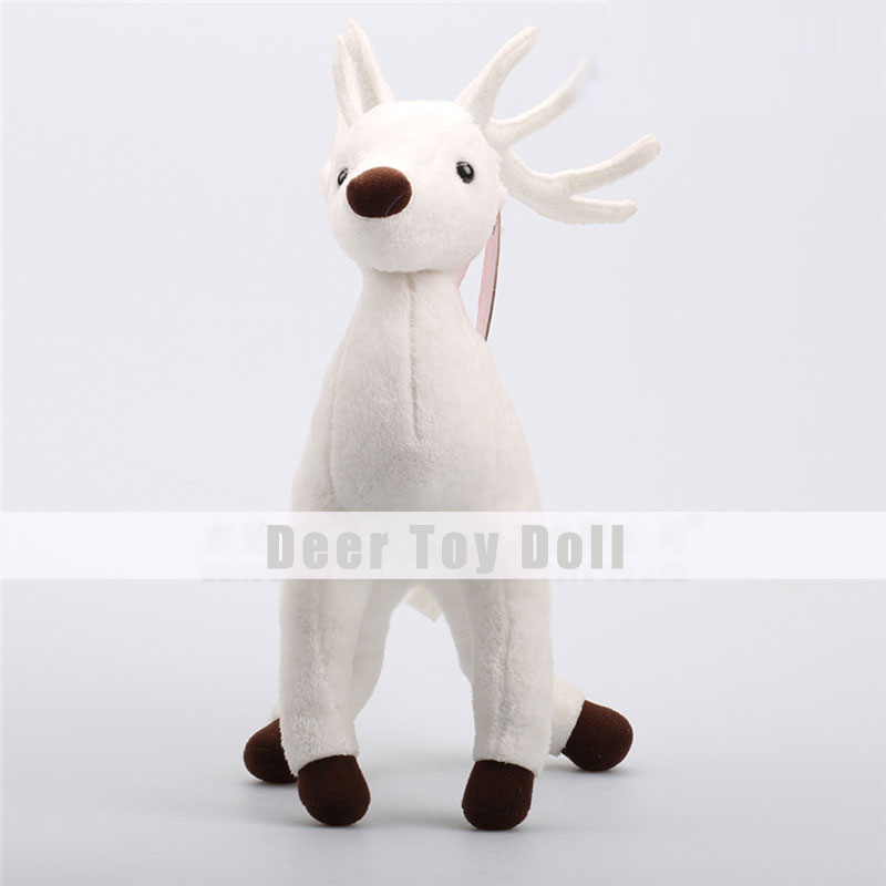 White Christmas Deer Plush Toys for Christmas Children Gifts