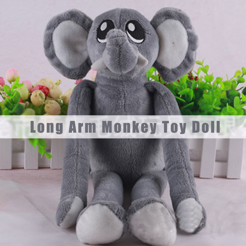 Grey Long Arm Monkey Soft Stuffed Plush Toy Doll Good Gift For Kids