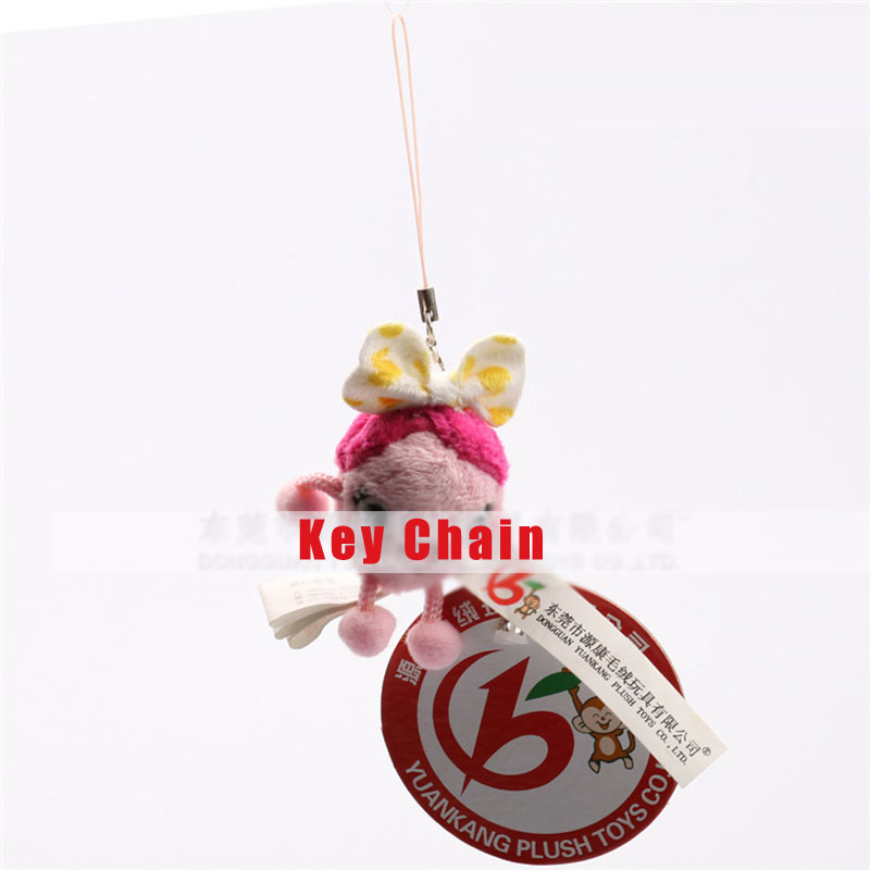 Soft Pink Dolls Toy Key Chain For Key Ring Key Holder Mobile Phone Straps