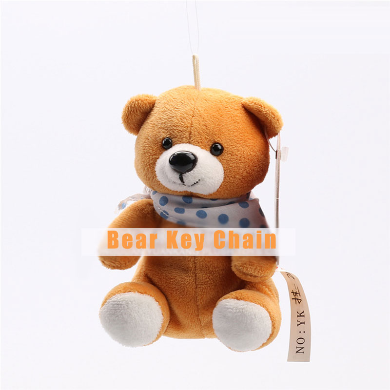 Bear Cute Plush Doll Toy Keychain Car Key Holder Phone Charm Hanging