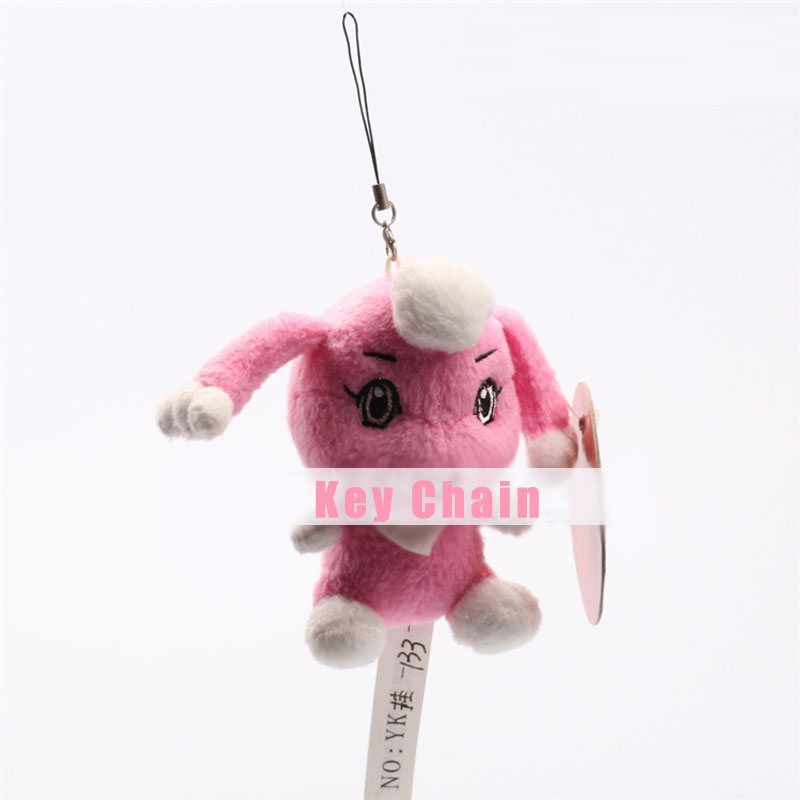 Pink Adorable Big Eyes Plush Doll Toy Soft Stuffed Key Chain For Kids Gifts