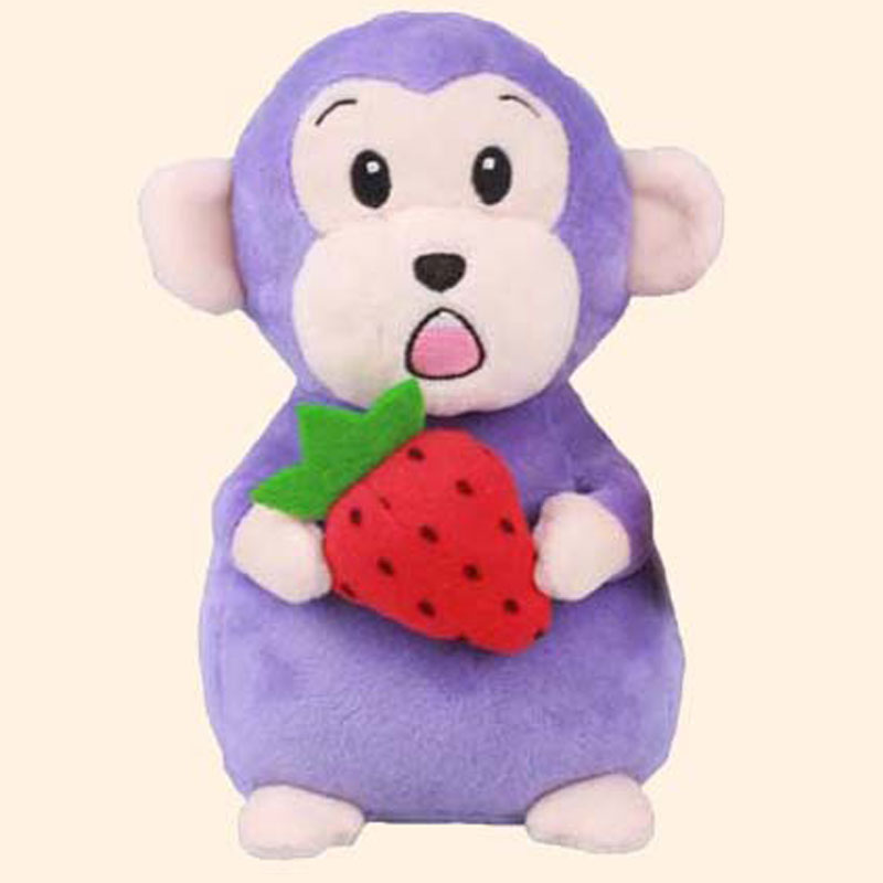 Purple Monkey With Strawberry Plush Toys High Quality Soft Baby Toy