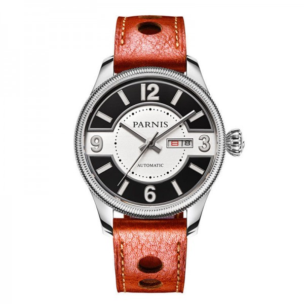 Steel Brown Leather Strap