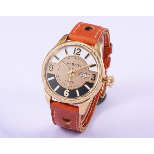 Rose Gold Brown Leather Strap