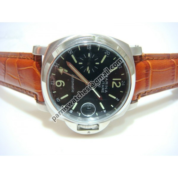 Steel Black Dial Leather