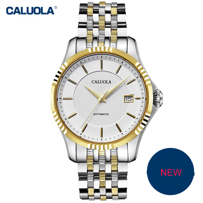 Caluola Fashion Watch Automatic Date Men Watch Business Steel CA1194MM